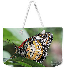 Leopard Lacewing Butterfly Weekender Tote Bag by Judy Whitton