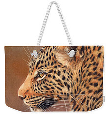 Leopard Portrait Weekender Tote Bag by David Stribbling