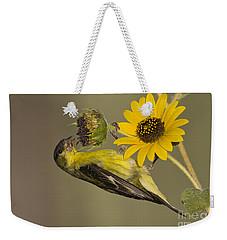Lesser Goldfinch On Sunflower Weekender Tote Bag by Bryan Keil