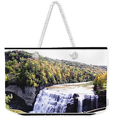 Weekender Tote Bag featuring the photograph Letchworth State Park Middle Falls Panorama by Rose Santuci-Sofranko
