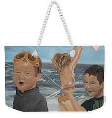 Beach - Children Playing - Kite Weekender Tote Bag