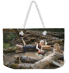 Levitating Housewife - Cutting Firewood Weekender Tote Bag