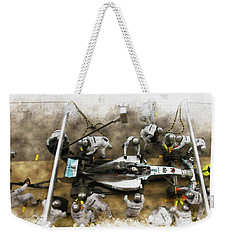 Lewis Hamilton Of Britain Service The Car At Pit Stop Weekender Tote Bag