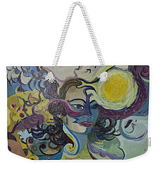 Weekender Tote Bag featuring the painting Librarian Of The Night #2 by Avonelle Kelsey