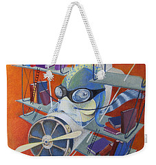Weekender Tote Bag featuring the painting Librarian Pilot by Marina Gnetetsky