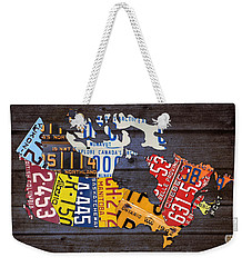License Plate Map Of Canada Weekender Tote Bag by Design Turnpike