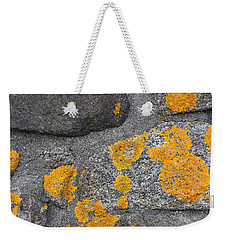 Weekender Tote Bag featuring the photograph Lichen Coated Fence Post 2 by Mary Bedy