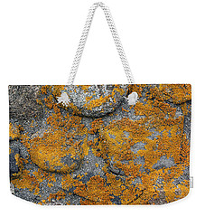Weekender Tote Bag featuring the photograph Lichen Coated Fence Post by Mary Bedy