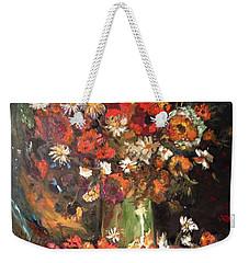 Weekender Tote Bag featuring the painting Life Is Like A Vase Of Flowers by Belinda Low