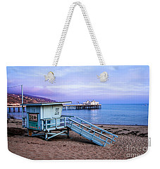 Lifeguard Tower And Malibu Beach Pier Seascape Fine Art Photograph Print Weekender Tote Bag by Jerry Cowart