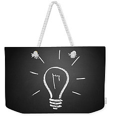 Light Bulb On A Chalkboard Weekender Tote Bag by Chevy Fleet