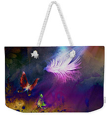 Weekender Tote Bag featuring the painting Light Feather by Lilia D