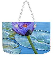 Light Purple Water Lily Weekender Tote Bag by Pamela Walton