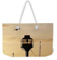 Light Ship Silhouette At Sunset Weekender Tote Bag
