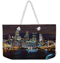 Light Up Night Pittsburgh 3 Weekender Tote Bag by Emmanuel Panagiotakis