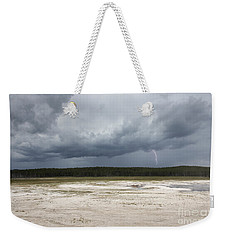 Lightening At Yellowstone Weekender Tote Bag by Belinda Greb