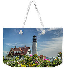 Lighthouse And Wild Roses Weekender Tote Bag by Jane Luxton