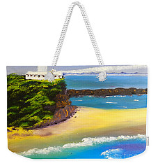 Weekender Tote Bag featuring the painting Lighthouse At Nobbys Beach Newcastle Australia by Pamela  Meredith