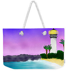 Lighthouse On Beach Weekender Tote Bag by Anita Lewis