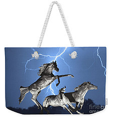 Lightning At Horse World Bw Color Print Weekender Tote Bag