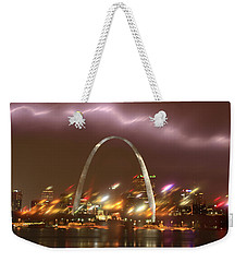 Lightning Over The Arch Weekender Tote Bag