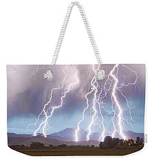 Lightning Striking Longs Peak Foothills 4c Weekender Tote Bag