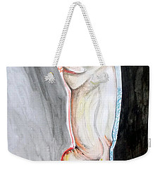 Weekender Tote Bag featuring the painting Lightweight Of The Being Listen With Music Of The Description Box by Lazaro Hurtado