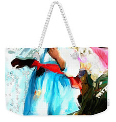 Weekender Tote Bag featuring the painting Lil Girl  by Vannetta Ferguson