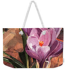 Lilac Crocuses Weekender Tote Bag by Greta Corens