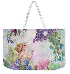 Weekender Tote Bag featuring the painting Lilac Enchanting Flower Fairy by Judith Cheng