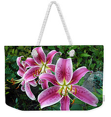 Weekender Tote Bag featuring the photograph Lilies Of The Field by Lingfai Leung