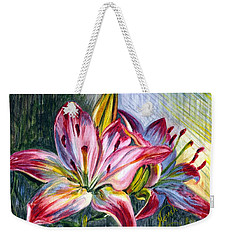 Weekender Tote Bag featuring the painting Lilies Twin by Harsh Malik