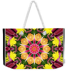 Weekender Tote Bag featuring the photograph Lily And Chrysanthemums Flower Kaleidoscope by Rose Santuci-Sofranko