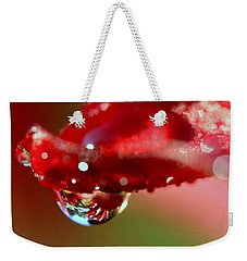 Weekender Tote Bag featuring the photograph Lily Droplets by Suzanne Stout