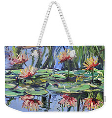 Lily Pond Reflections Weekender Tote Bag by Donna Tuten