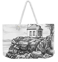 Weekender Tote Bag featuring the drawing Lime Kiln Lighthouse by Kim Lockman