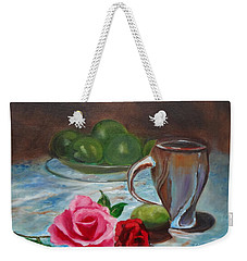 Weekender Tote Bag featuring the painting Limes And Roses by Jenny Lee