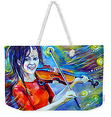 Weekender Tote Bag featuring the painting Lindsey Stirling Magic by Anna  Duyunova