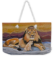 Weekender Tote Bag featuring the painting Lion And Cub by Phyllis Kaltenbach