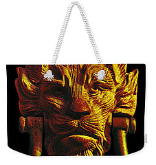Lion Head Antique Door Knocker In Black And Gold Weekender Tote Bag by Jane McIlroy