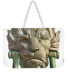 Lion Head Antique Door Knocker On White Weekender Tote Bag by Jane McIlroy