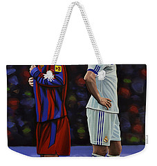 Lionel Messi And Cristiano Ronaldo Weekender Tote Bag by Paul Meijering