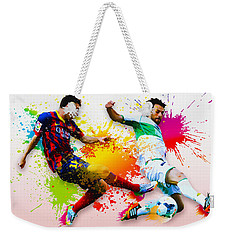 Lionel Messi Of Fc Barcelona Weekender Tote Bag