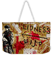 Weekender Tote Bag featuring the mixed media Lioness by Michelle Dallocchio
