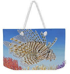 Weekender Tote Bag featuring the painting Lionfish And Coral by Jane Girardot