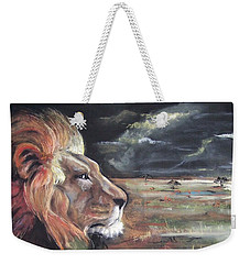 Weekender Tote Bag featuring the pastel Lions Domain by Peter Suhocke