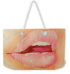 Weekender Tote Bag featuring the painting Lips Soft by Marisela Mungia