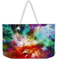 Weekender Tote Bag featuring the digital art Liquid Colors - Enamel Edition by Lilia D
