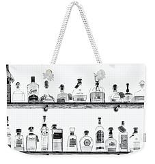 Liquor Bottles - Black And White Weekender Tote Bag