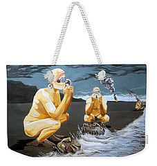 Weekender Tote Bag featuring the painting Lithophagus Listen With Music Of The Description Box by Lazaro Hurtado
